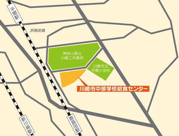 川崎市中部学校給食センター所在地地図